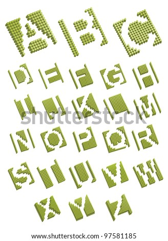 Dots alphabet letters icon symbol set EPS 8 vector, grouped for easy editing. No open shapes or paths. - stock vector