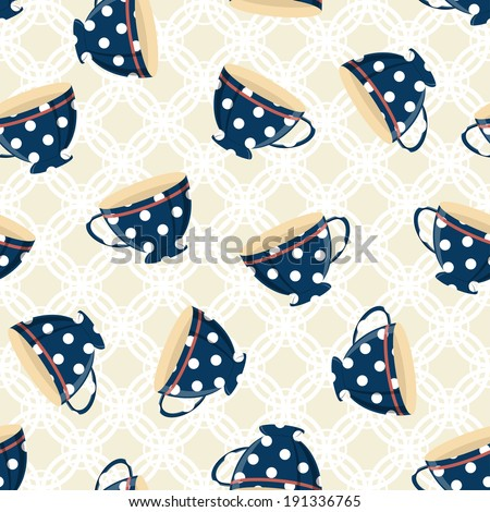 Dots tea cups seamless pattern on the ornamental background - stock vector