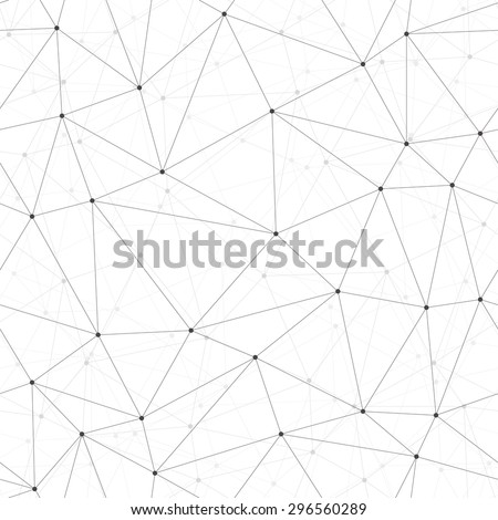 Dots with connections, triangles - seamless, repeating light background - stock vector