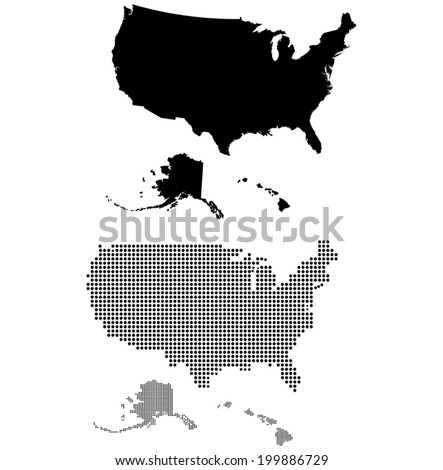 Us Map Dots Stock Images RoyaltyFree Images Vectors Shutterstock - Us map white silhouette