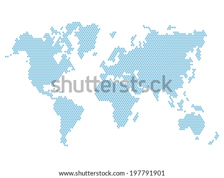Dotted Blue World Map Isolated on White. Vector illustration - stock vector