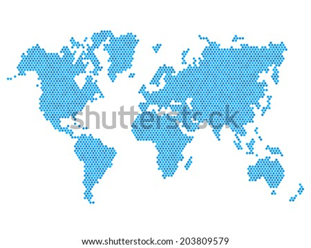Dotted Blue World Map Isolated on White. Vector illustration
