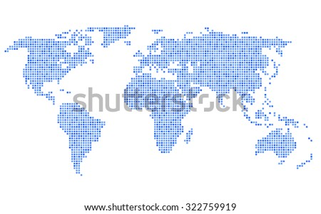 Dotted Blue World Map on White Background. Vector - stock vector