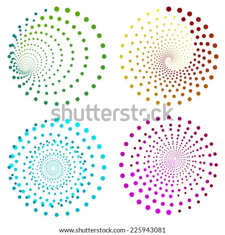 Dotted design elements or motifs with 4 effects and 4 color combinations - stock vector