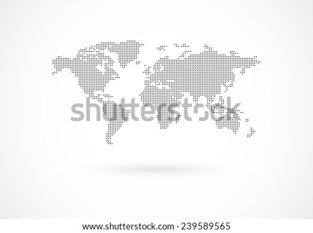 Dotted Earth map - stock vector