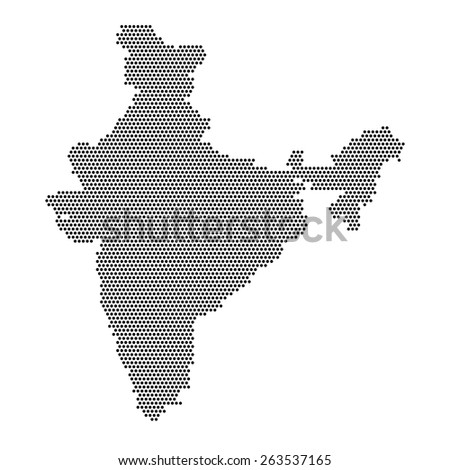 Dotted india map black