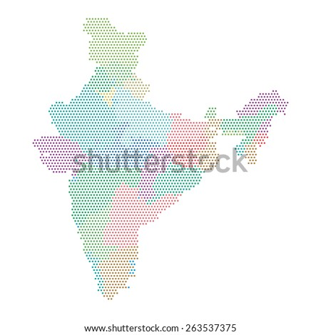 Dotted india map colorful states