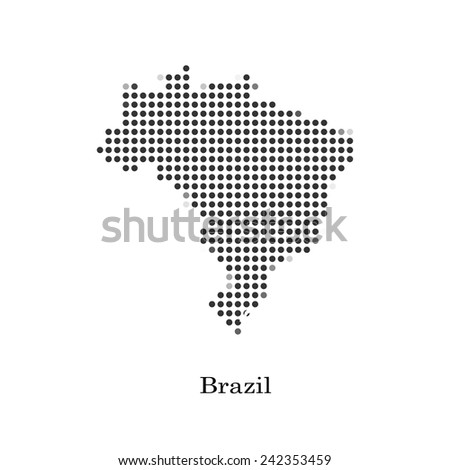 Dotted map of Brazil for your design, concept Illustration. - stock vector