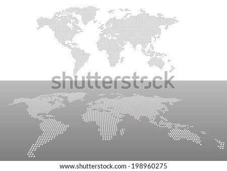 Dotted maps in perspective view - stock vector