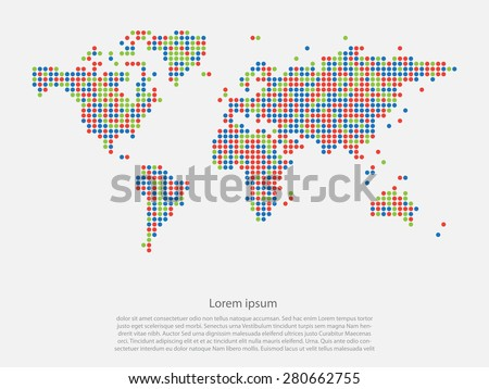 Dotted multicolor world map on light background vector - stock vector