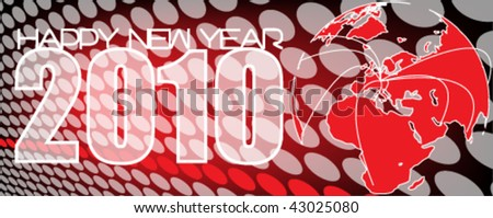 dotted new year background vector with space for text with world map