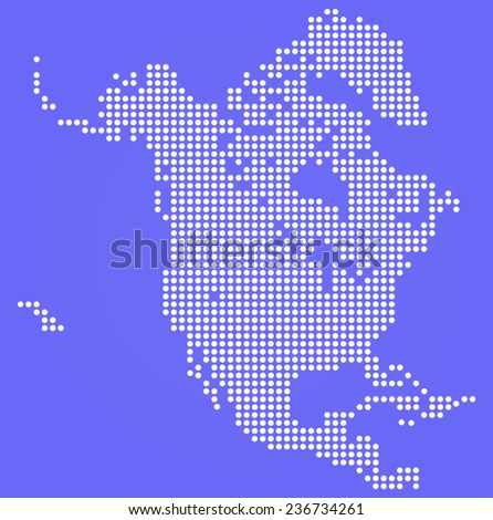 Dotted  North America map on blue  - stock vector