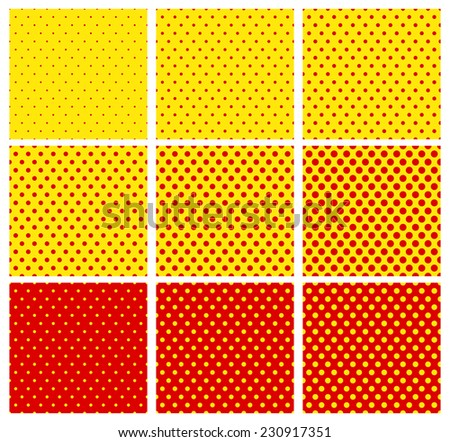 Dotted pop art pattern in 9 variation. (repeatable squares) - stock vector