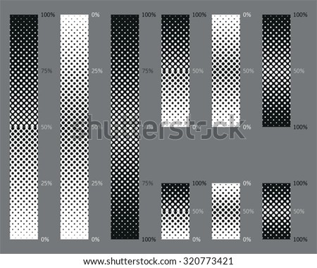 Dotted, seamless and precise gradient background patterns for eps8 vector images - stock vector