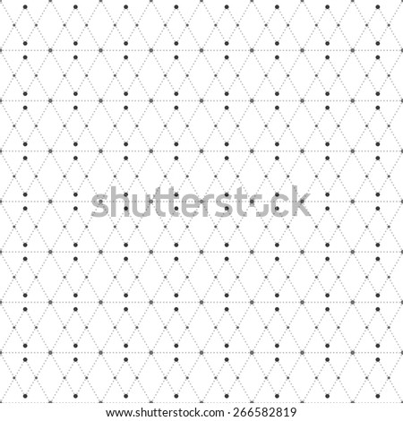 Dotted seamless pattern with rhombus and nodes. Repeating modern stylish geometric background. Simple abstract monochrome vector texture.