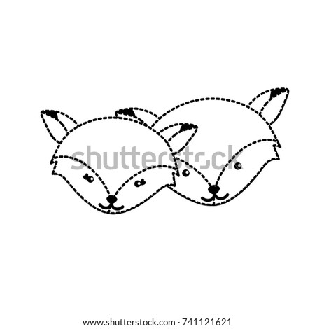 dotted shape cute fox head animal couple together