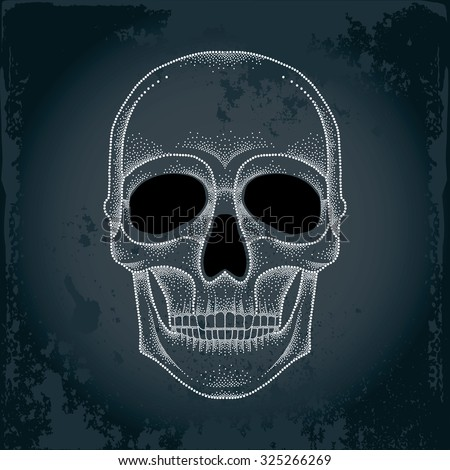 Dotted skull in white on the textured dark background