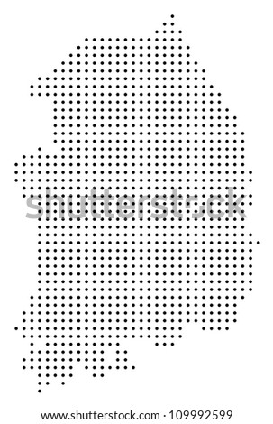 Dotted South Korea map - stock vector