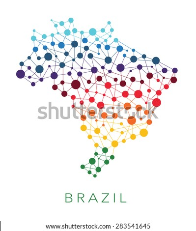 dotted texture Brazil vector background  on white - stock vector