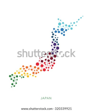 dotted texture Japan vector background - stock vector