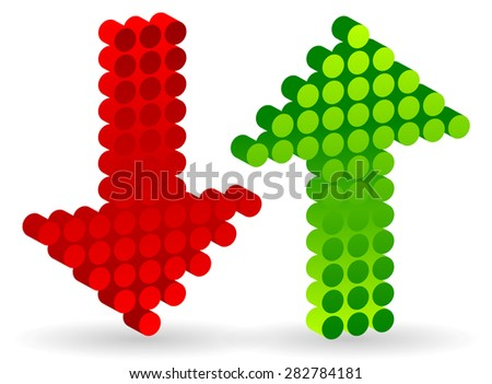 Dotted up and down arrows - stock vector