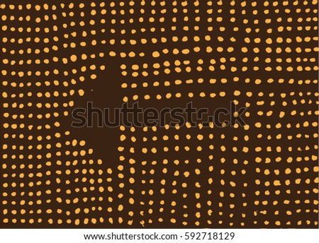 Dotted vector illustration. Hand drawn brown and orange minimalistic pattern. Arrow, pointer. Abstract graphic.