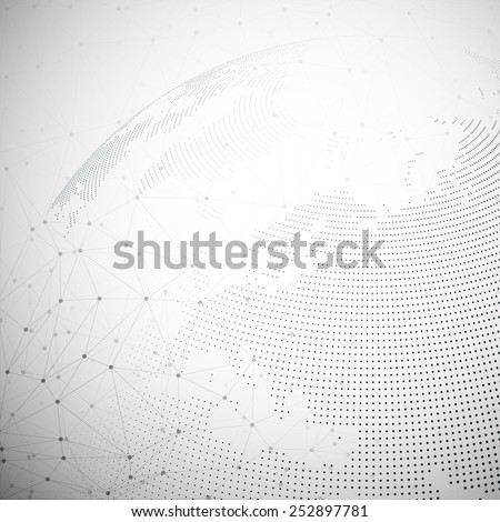 Dotted world globe, light design vector illustration. - stock vector