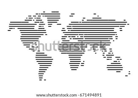 Dotted world map - Abstract black line on white background. vector illustration eps 10.