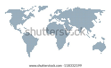 Dotted world map isolated on white. Vector image. - stock vector