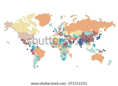 Dotted World map of hexagonal dots on white background. Vector illustration. - stock vector