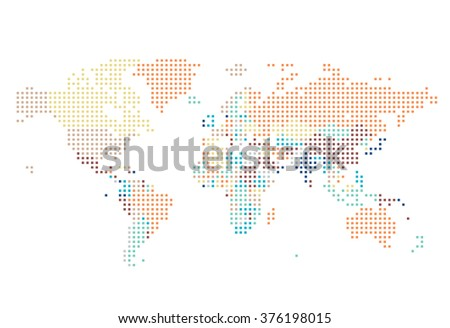 Dotted World map of square dots on white background. Vector illustration. - stock vector