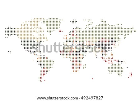 Dotted world map square dots on stock vector 492497827 shutterstock dotted world map of square dots on white background vector illustration gumiabroncs