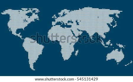 dotted World map vector on blue background.