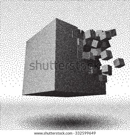 Dotwork raster cube object explosion with cubical particles - stock vector