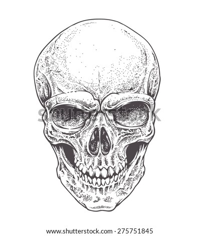Dotwork styled skull vector art.  - stock vector