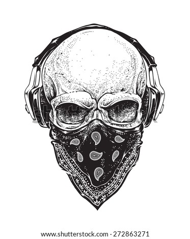 Dotwork styled skull with headphones and bandana. Vector art.  - stock vector
