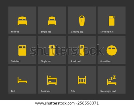 Double and single bed icons. Vector illustration. - stock vector