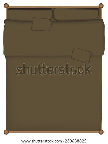 Double bed quilt bed made with the pillows. Vector illustration. - stock vector