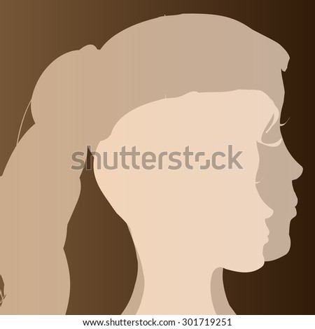 Double beige silhouette woman on brown background.