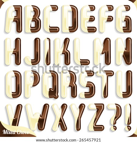 Double Chocolate mix font, White chocolate and Milk Chocolate, Part 1/2 Alphabet - stock vector