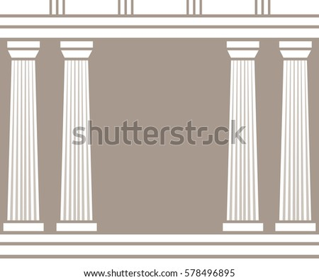 Double classic pillars arc isolated on brown background. Vector illustration flat architecture design. Building ancient monument background. Column pillar parthenon landmark. Famous architecture