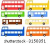double deck, single deck, and open top buses illustration - stock photo
