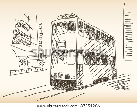 Double deckers tram Hand drawn - stock vector