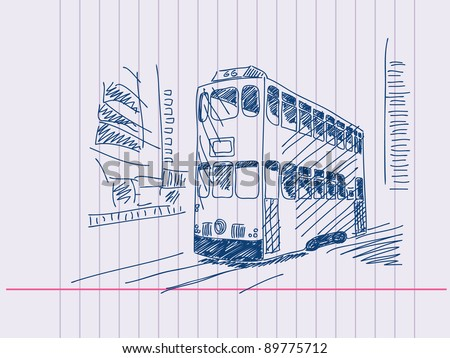 Double deckers tram Hand drawn. Visit my portfolio for huge hand drawn collection - stock vector