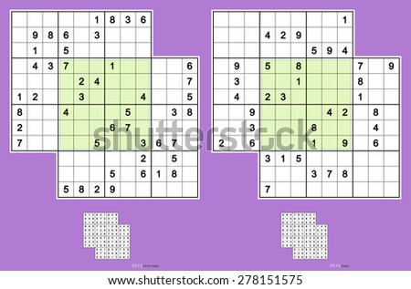 Double-doku, symmetrical. Two overlapping sudoku puzzles. Vector set. Very easy and easy. 46, 38 clues. - stock vector