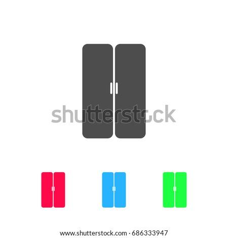 Double Door Icon Flat Color Pictogram Stock Vector 686333947