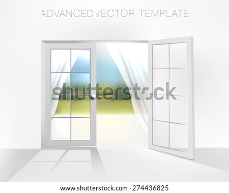 Double door to garden with white curtains on warm summer day, High quality vector illustration - stock vector