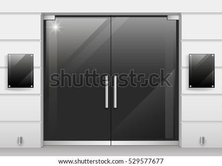 Double Doors Black Glass Entrance Store Stock Vector 529577677