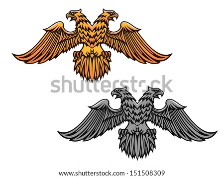 Double eagle mascot for heraldry or tattoo design or idea of logo. Jpeg version also available in gallery - stock vector