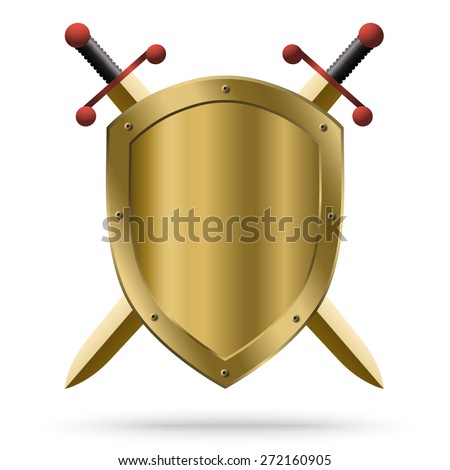 Double-edged golden swords and medieval shield isolated on white background. Protection symbol. - stock vector